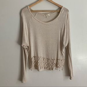 Tan crop sweater w/lace on the bottom